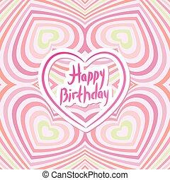 óptico, card., abstratos, feliz, tridimensional, ilusão, aniversário, cor-de-rosa, experiência., 3d, volume.