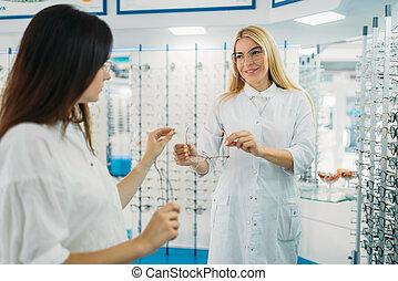óptico, comprador, exposiciones, óptica, tienda, anteojos
