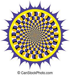 óptico, fiar, ilusão, ciclo