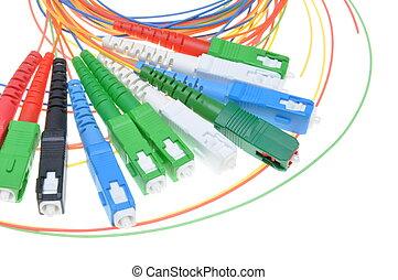 óptico, fibra, conectores