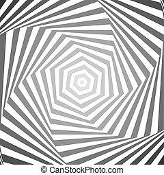 óptico, gradação, ilusão, fundo, hexágono