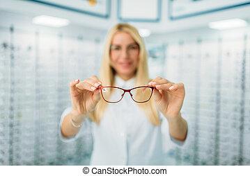 óptico, hembra, exposiciones, óptica, tienda, anteojos