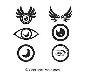 óptico, modelo, logotipo, ícone, vetorial, ilustração, olho