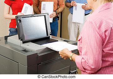 óptico, scanner, votando