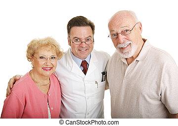 óptico, serie, -, pareja, y, optometrista