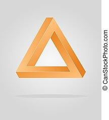óptico, triangulo, ilusão