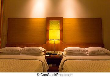 óra, ijedtség, éjszaka, két, ágy, hálószoba, vánkos, betakar