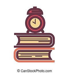 óra, iskolakönyvek, ódivatú, cölöp, szerelő, ijedtség