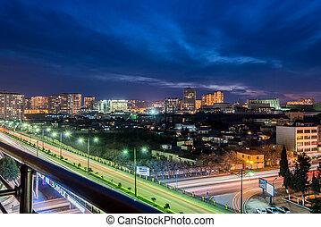 óra, közben, este, baku, azerbajdzsán