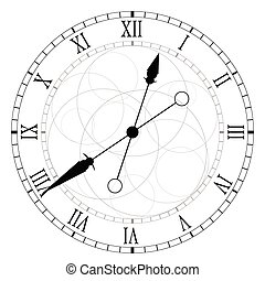 óra, karika, fekete, vektor