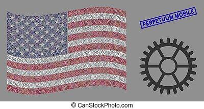 óra, kollázs, bélyeg, egyesült államok, perpetuum, egyesült,...