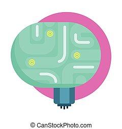 órgano, iconos, serie, elecrtonic, él, cerebro, androide,...