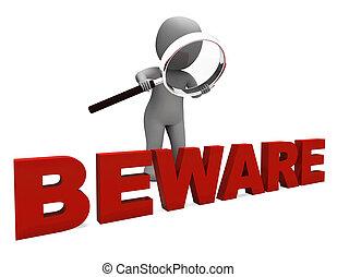 óvakodik, betű, erőforrások, figyelmeztet, veszélyes, vagy,...