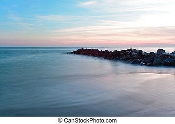 ö, dramatisk, strand, solnedgång, kaninskinn
