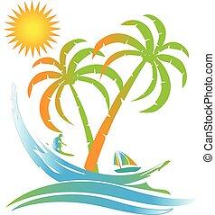 ö, solig, tropical paradis, logo, strand
