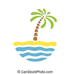 ö, tropisk, vektor, palm, sea., logo
