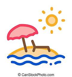 ö, vektor, illustration, ikon, träd, sol, skissera, palm