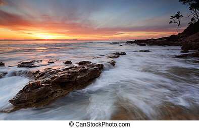 öböl, felett, hintáztatni, napkelte, óceán