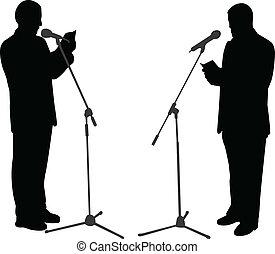 öffentlichkeit, spricht, silhouetten