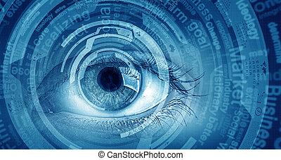 ögon, avbild, begrepp, scanning.