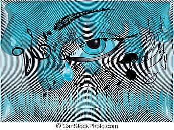 ögon, bakgrund, mänsklig, musikalisk