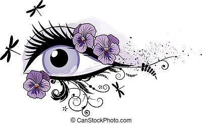 ögon, blommig, vacker, fjäder
