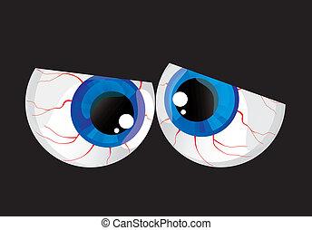 ögon, bukig, hypertrophied, klumpa ihop sig, jättestor