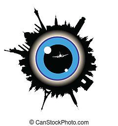 ögon, centrera