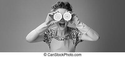 ögon, citron, hemmafru, holdingen, halvt, främre del, le