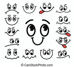 ögon, discontent., ansiktsbehandling, sinnesrörelser, tecknad film, mun, glädje, bedrövelse, uttryck, tongue.