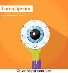 ögon, halloween, hand, zombie, apelsin, hålla, baner
