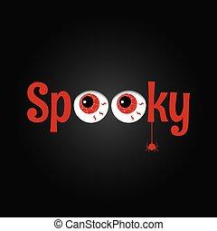 ögon, hemsökt av spöken, text., bakgrund., design, parti, halloween