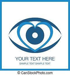 ögon, hjärta, design., påfallande