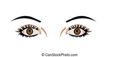 ögon, isolerat, illustration, realistisk, bakgrund, vit