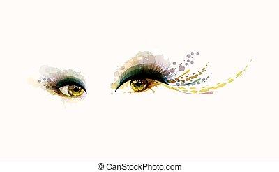 ögon, kvinna