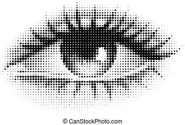 ögon, mänsklig, halftone