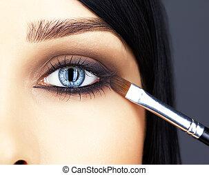 ögon, närbild, kvinna, skott, smink