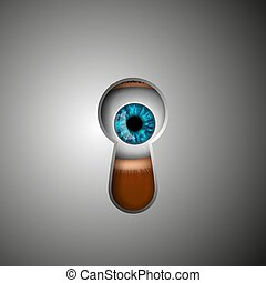 ögon, nyckelhål, mänsklig