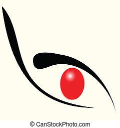 ögon, röd