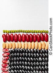ögon, textures:, pattern., flerfärgad, pinto, skidfrukt, böna, svarta bönor, lins, geometrisk, njure