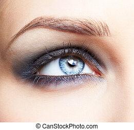 ögon, zon, smink