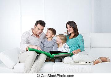 ögonblick, familj, trevlig