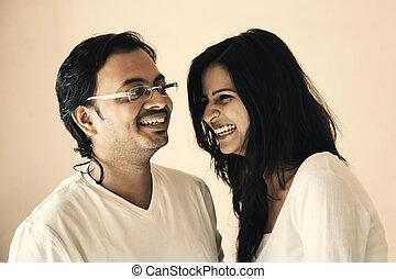 ögonblick, indisk, par, lycklig