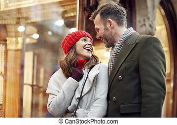 ögonblick, inköp, romantisk, under, jul, stor