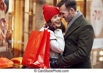 ögonblick, inköp, romantisk, under, par, jul