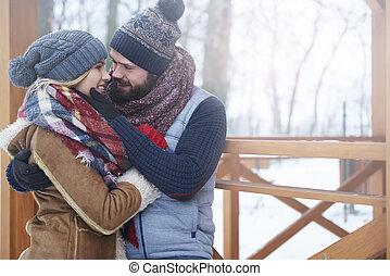 ögonblick, kärleksfullt par, romantisk