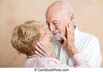 ögonblick, par, -, ömhet, senior