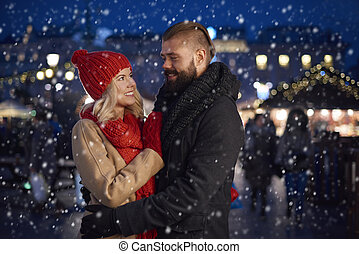 ögonblick, romantisk, snö
