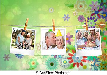 ögonblick, sammansatt avbild, foto, hängande, fodra