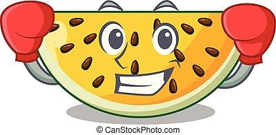 ökölvívás, betű, sárga görögdinnye, friss, karikatúra